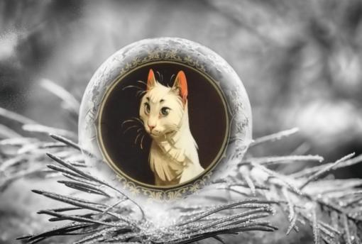 Den vita katten Fröken Bengalore från boken Djurslottet av Félix Delep och Xavier Dorison inuti en iskula på en frosttäckt grangren.