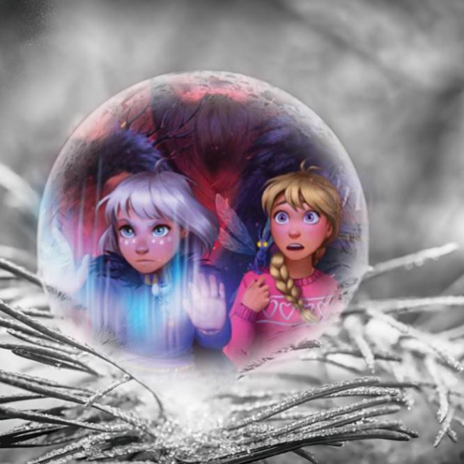bokomslaget till boken vikingarna och oraklet av Malin Falch inuti en iskula på en frosttäckt grangren.