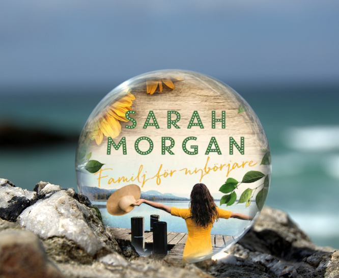 Omslaget till boken Familj för nybörjare av Sarah Morgan inuti en liten glaskula som är på en havsklippa med havet i bakgrunden.